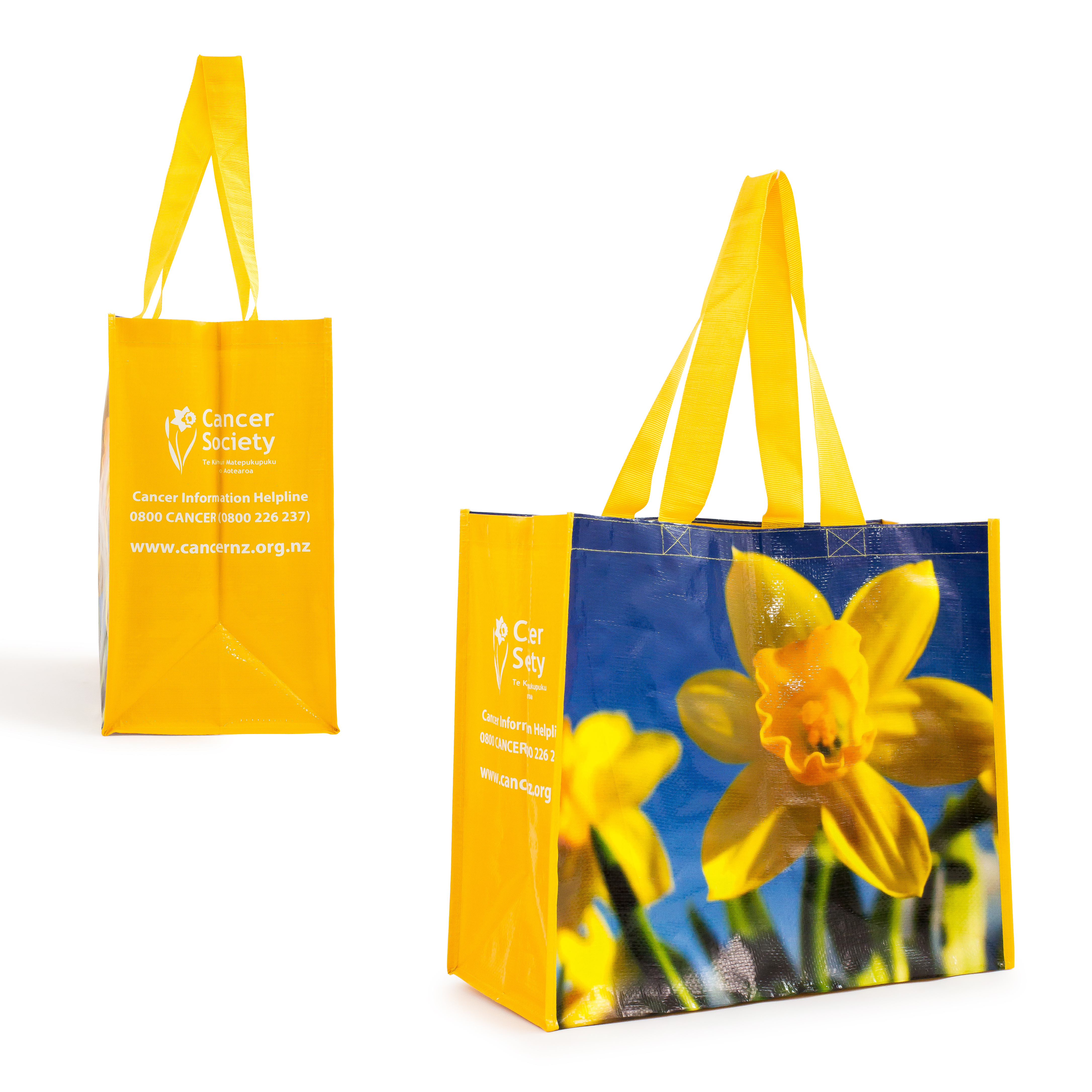 Blue and yellow Daffodil Day bag
