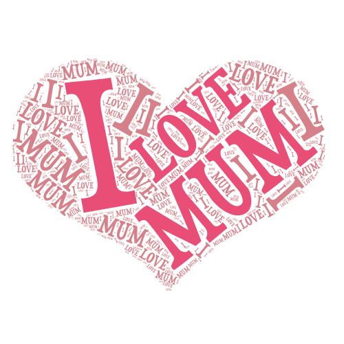 word art using I love mum